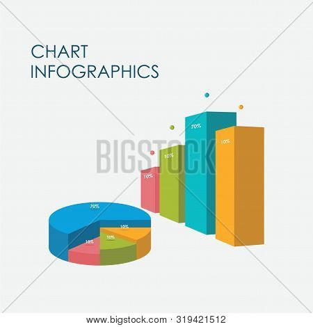 Bar Chart, Pie Chart Infographics Elements 3d Vector Flat Design, Sign, Icon Full Color, Template
