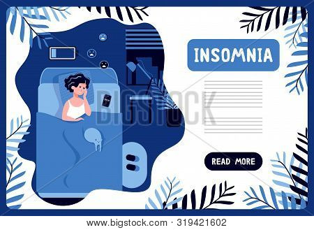 A Woman Suffers From Insomnia Lying In A Bedroom At Night With A Discharged Battery And Sad Smiles.