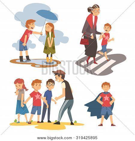 Boy Defending Little Kids, Helping Old Senior Woman To Cross Road, Polite, Brave Kids Set, Good Mann