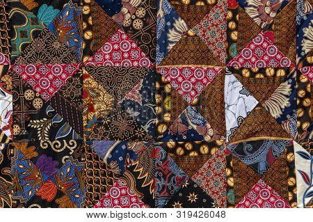 Detail Patchwork Quilt In Market. Bali Island, Ubud, Indonesia. Closeup Patchwork Blanket Texture