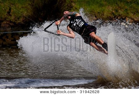 MELBOURNE, AUSTRALIA - MARCH 11: Jason Mcclintock of Canada in the trick event at the Moomba Masters on March 11, 2012 in Melbourne, Australia