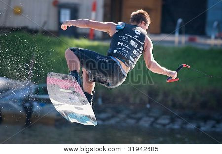 MELBOURNE, AUSTRALIA - MARCH 11: Oliver Renne in the wakeboard event at the Moomba Masters on March 11, 2012 in Melbourne, Australia