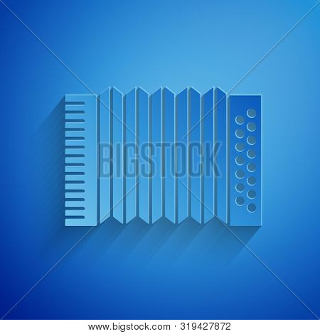 Paper cut Musical instrument accordion icon isolated on blue background. Classical bayan, harmonic. Paper art style. Vector Illustration poster