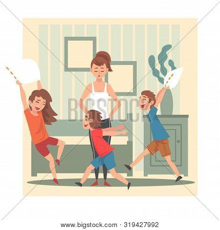 Mother and Her Mischievous Children, Kids Having Fun at Home, Naughty, Rowdy Children, Bad Child Behavior Vector Illustration poster