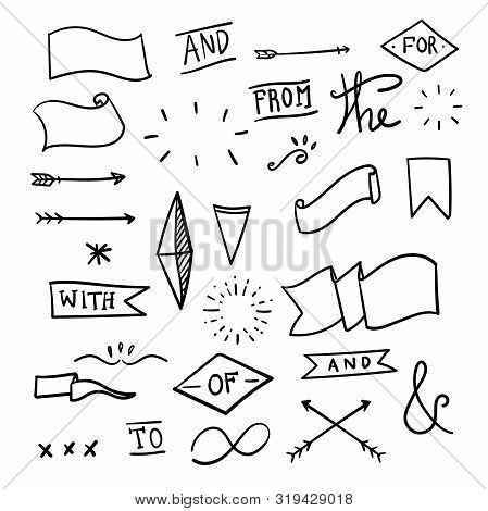 Set Of Decorative Calligraphic Elements For Decoration. Hand Drawn Lines. Hand-lettered Ampersands A