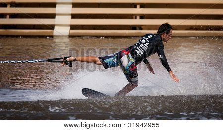 MELBOURNE, AUSTRALIA - MARCH 11: Javier Julio of Chile in the trick event at the Moomba Masters on March 11, 2012 in Melbourne, Australia