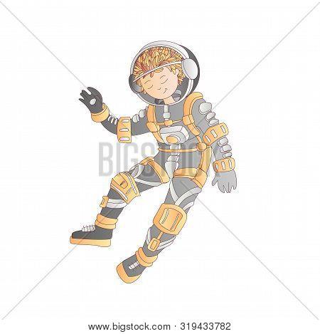 Cute Cartoon Asrtonaut Girl Floating In Space Vector Illustration. Girl In Space Helmet Among Stars,
