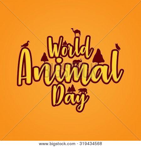 World Animal Day 4 October. Banner World Animal Day With Wild Animals. Animals On The Planet, Animal
