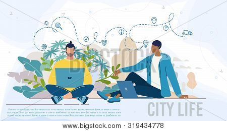 City Life, Modern People Daily Work Lifestyle Flat Vector Web Banner, Landing Page Template. Multina