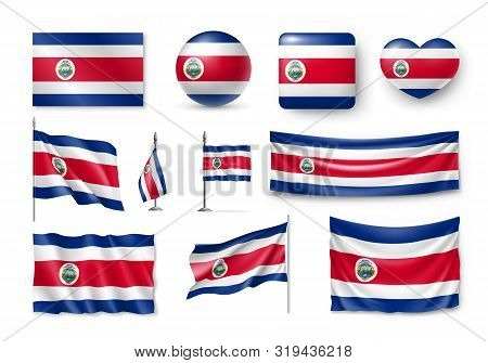 Various Flags Of Costa Rica Independent Country. Realistic Waving National Flag On Pole, Table Flag