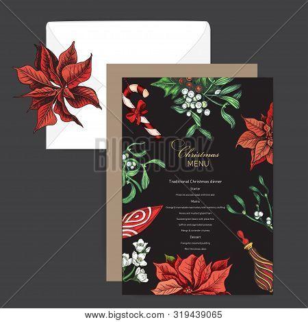 Vector Illustration Sketch - Greeting Cards And Holiday Design. Vintage Xmas Menu. Christmas Hand Dr