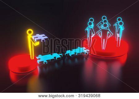 3d People - Human Character - Person. 3d Figure Last Jigsaw Piece Puzzle. Concept Of Contact Bridge