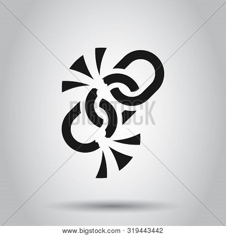 Broken Chain Sign Icon In Flat Style. Disconnect Link Vector Illustration On Isolated Background. De