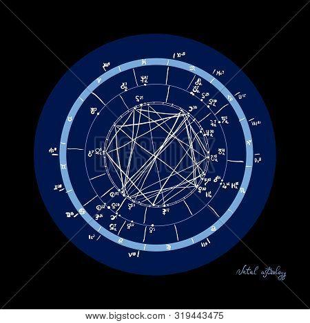 Horoscope Natal Chart, Astrological Celestial Map, Cosmogram, Vitasphere, Radix. Blue White Black Co