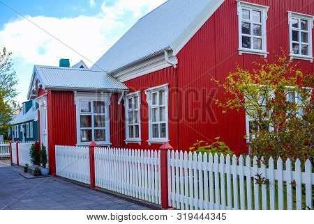 Isafjordur, Iceland - June 1, 2019:  The Traditional Houses In Adals Street