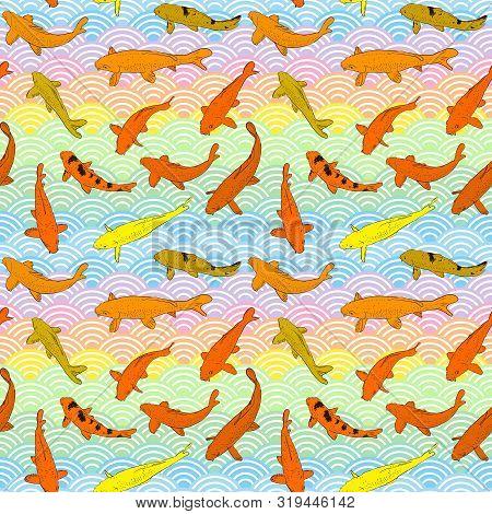 Seamless Pattern Koi Carp Nishikigoi Literally Brocaded Carp. Orange Yellow Fish. Black Outline Sket
