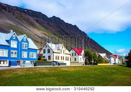 Isafjordur, Iceland, The Houses In Traditional Style That Overlook The Tungata Square