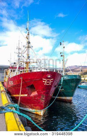 Isafjordur, Iceland - June 1, 2019: Fischermen Boats In The Harbor