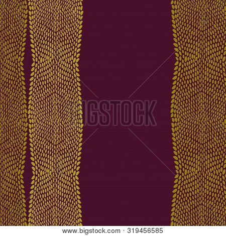 Snake Dragon Skin Scales Texture. Pattern Brown Maroon Mustard Yellow Gold Background. Simple Orname