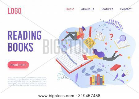 Reading Books Flat Vector Landing Page Template. Cartoon Readers Immersed In Fantasy World Metaphor.
