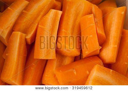 Many Fresh Orange Carrots From The Garden