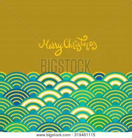 Seigaiha Or Seigainami Literally Means Wave Of The Sea. Merry Christmas Card Banner Design For Text