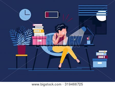 An Exhausted Woman Works In The Office Until Late With A Discharged Battery. Female Office Worker St