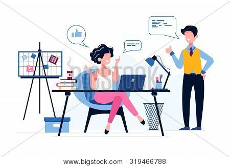 Happy Female Office Worker. The Boss Praises His Employee. Like Icon. Good Job. Successful Businessw
