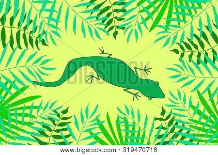 Vector Set Of Tropical Leaves. Figure Green Lizard Iguana.