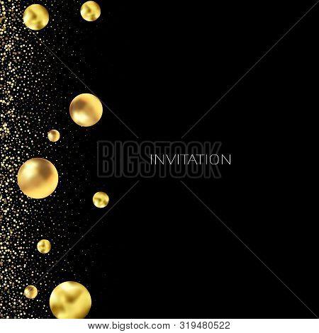 Gold Glitter Background With Sparkle Shine Light Confetti. Vector Glittering Black Background. Golde