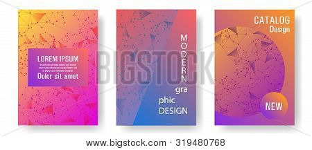 Vector Cover Layout Design. Global Network Connection Geometric Grid. Interlinked Nodes, Atom, Web O