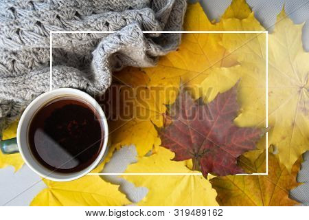 Autumn Leaves, Cup Of Coffee, Warm Scarf On The Table. Seasonal, Book Reading, Sunday Relaxing And S