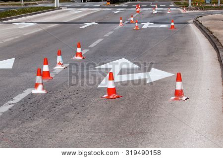 Work On The Road. Street Signs And Road Marking. Traffic Signs For Signaling. Road Maintenance, Unde