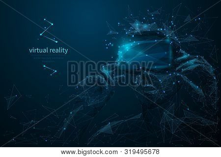 Virtual Reality Headset Low Poly Wireframe Banner Template. Polygonal Man Wearing Vr Glasses Mesh Ar