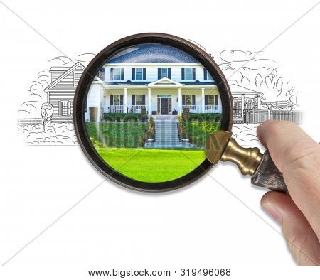 Hand Holding Magnifying Glass Revealing Finished House Build Over Drawing. poster