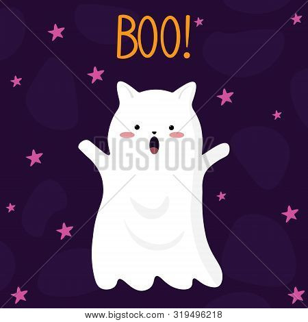Vector Graphics. Adorable, Cute Illustration Of A Ghost Cat. Hand Written Text. Holidays Cute Ghost