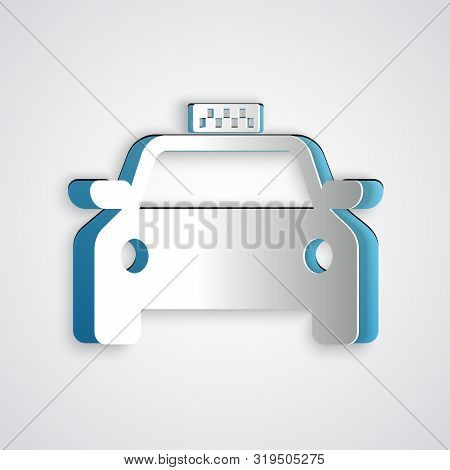 Paper Cut Taxi Car Icon Isolated On Grey Background. Paper Art Style. Vector Illustration