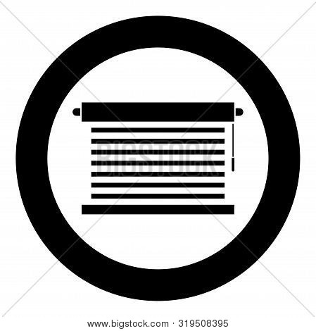 Jalousie Metal Window Jalousie For Office Louvers Icon In Circle Round Black Color Vector Illustrati