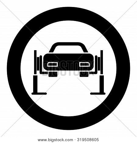 Car Lift Car Repair Service Concept Car On Fix Lift Car Lifted On Auto Lift Icon In Circle Round Bla