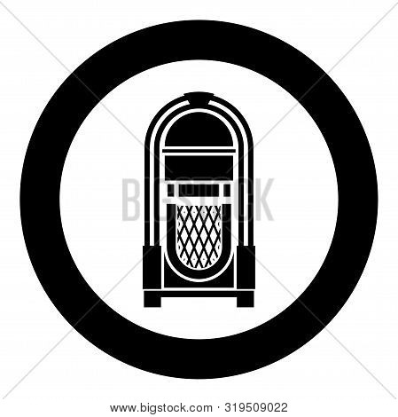 Jukebox Juke Box Automated Retro Music Concept Vintage Playing Device Icon In Circle Round Black Col