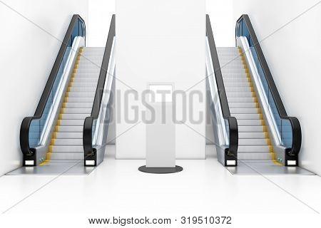 White Information Stands With Touch Screen Display Between Modern Luxury Escalators On Indoor Buildi