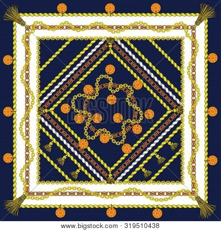 Silk Scarf With Gold Chains. Jewelry, Coins. Shawl. Vector. Navy Blue Background. White Square.