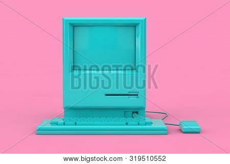 Blue Retro Personal Computer. The System Unit, Monitor, Keyboard And Mouse Mock Up Duotone On A Pink