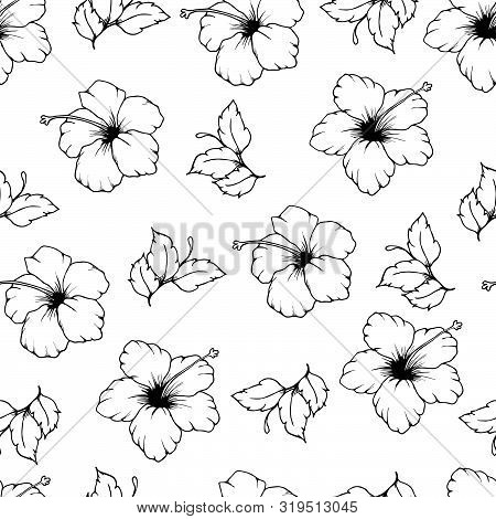 Black And White Vector Seamless Pattern Of Hibiscus Flowers And Leaves. Hand Drawn Hibiscus Flowers.