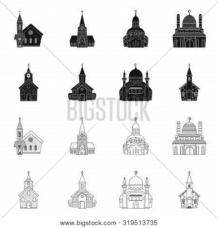Vector Illustration Of Cult And Temple Sign. Collection Of Cult And Parish Vector Icon For Stock.