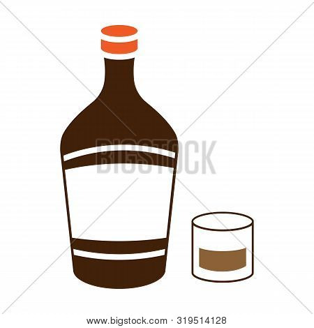 Liqueur Icon In Colour Style Isolated On White Background. Alcohol Symbol Stock Vector Illustration.