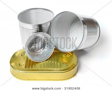 Empty tin cans on a white background. Environmental concept - waste recycling.