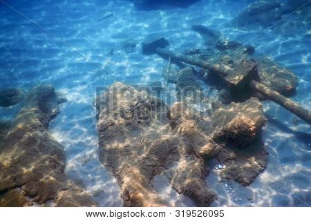 Shipwreck In The Blue Water, Rusty Shipwreck With Growing Corals, Underwater Sunken Ship