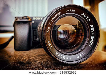 Boeblingen,germany - August 29,2019:stettiner Strasse This Is An Old Japanese Revuenon Prime 35mm-le