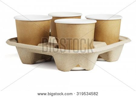 Four Coffee Cups in Disposable Paper Tray on White Background